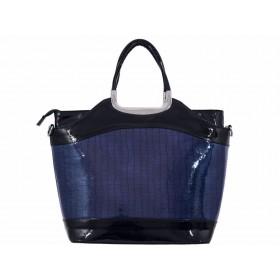 дамска чанта черен и тъмно син цвят 4602
