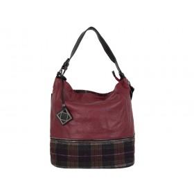 дамска чанта черен и тъмно червен цвят