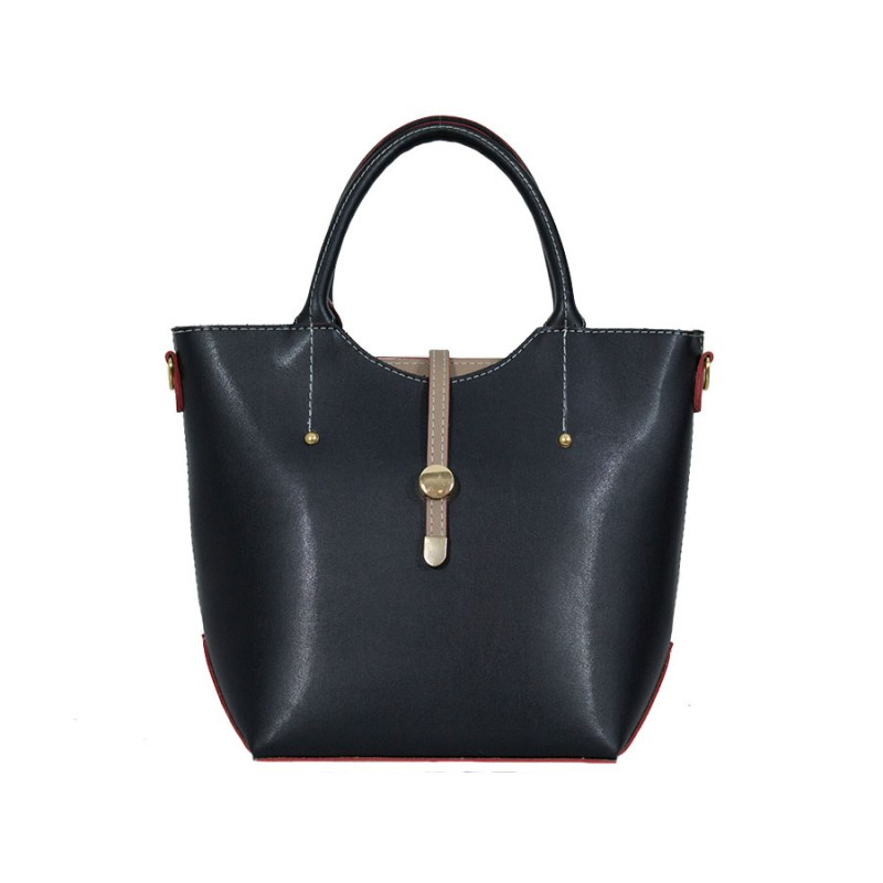 Дамска чанта черен цвят с бежови детайли GG4309B