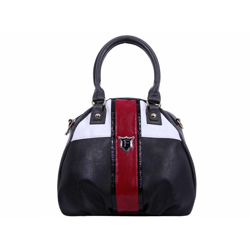 дамска чанта черен, червен, бял и тъмно сив цвят bg0022C