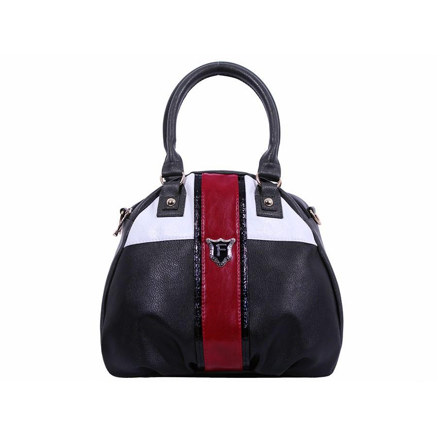 дамска чанта черен, червен, бял и сив цвят -BG0022C