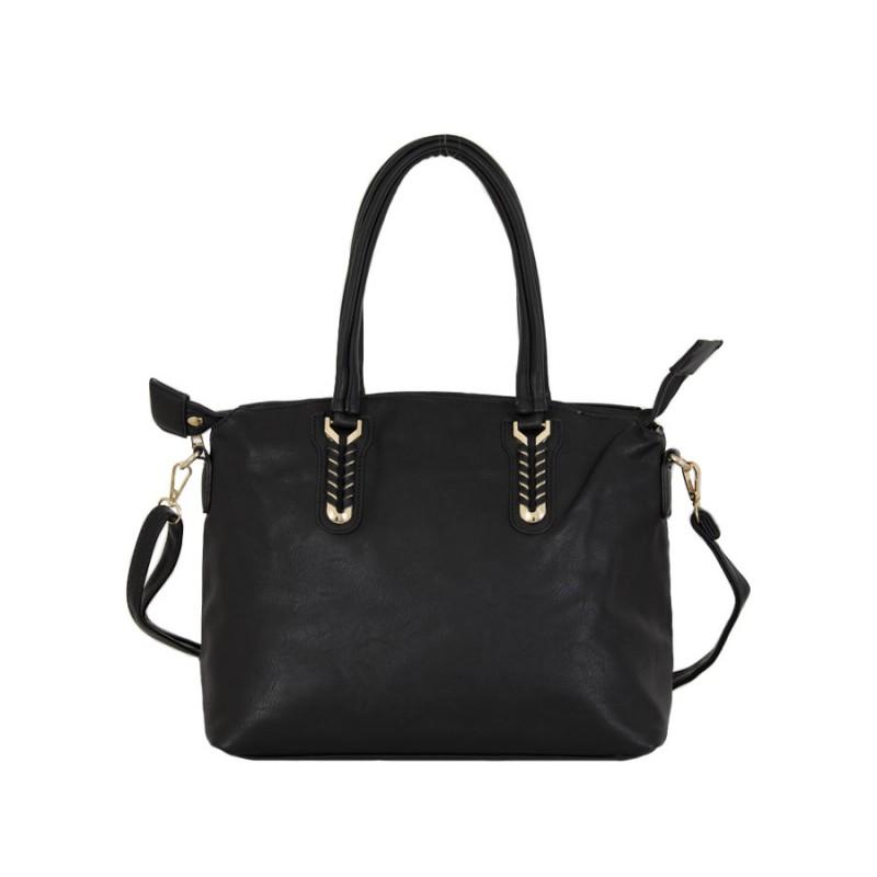 дамска чанта черна изчистена кожа