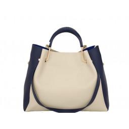 дамска чанта 05328Z бежов цвят със сини детайли