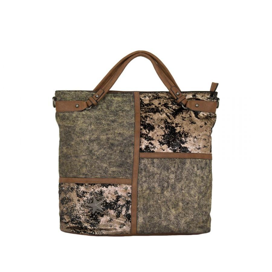 дамска чанта 56y39 в кафяво и златисто