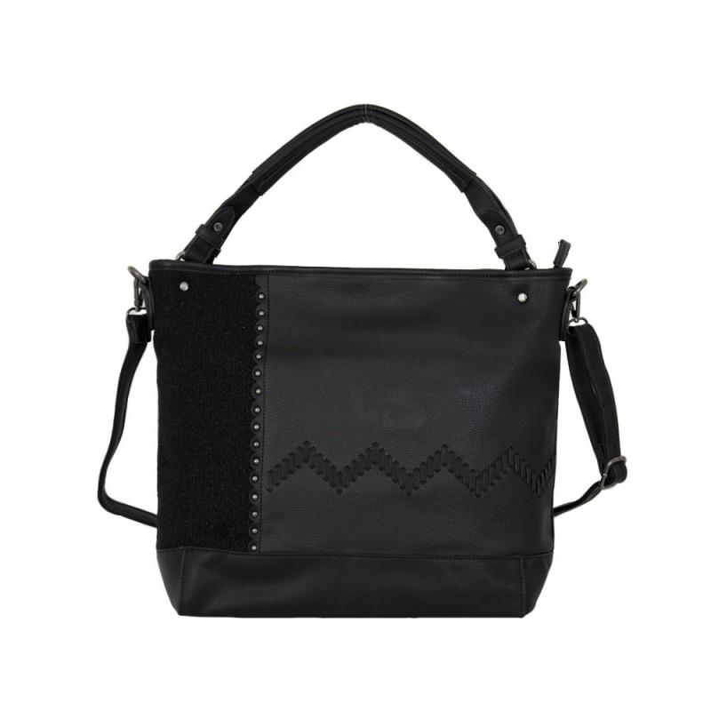 дамска чанта 56y86 черен текстил и кожа