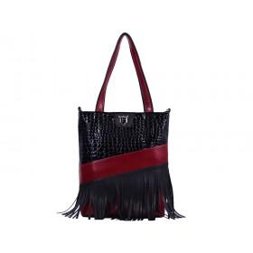 дамска чанта B018AG черен и червен цвят