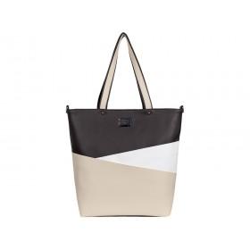 дамска чанта -B021C0G- бял, бежов и кафяв