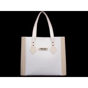 дамска чанта -B0230AG- бежов и бял цвят