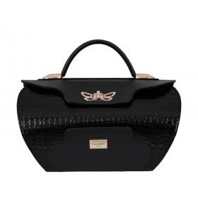 дамска чанта B0330A черен кроко лак