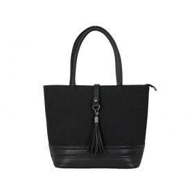 Дамска чанта b51500b черен набук и кожа
