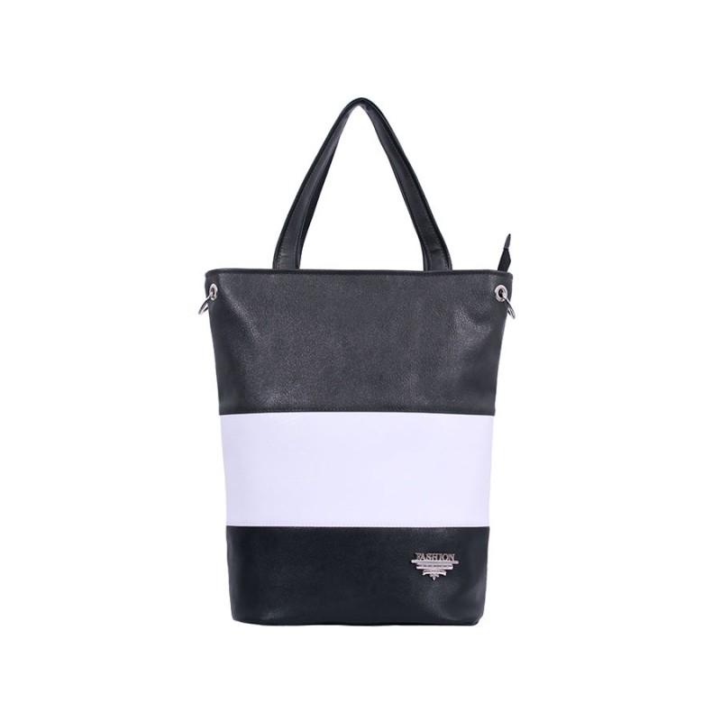 дамска чанта -BG0019- черен, сив и бял цвят