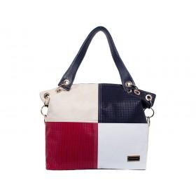 дамска чанта -BG014B- син, бежов и червен цвят