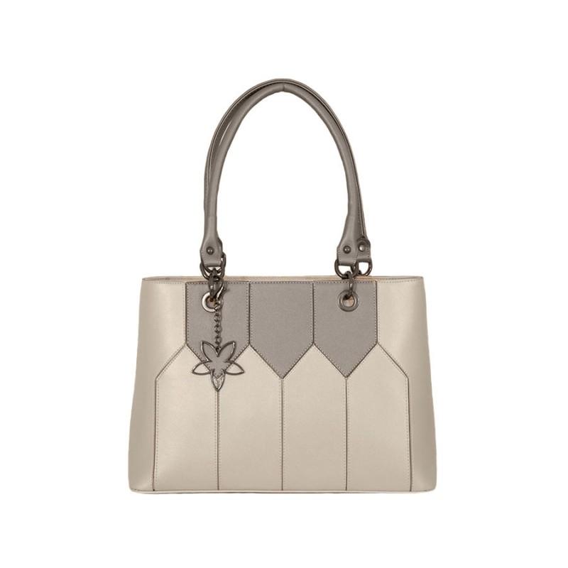 дамска чанта g51-97b кремав металик със сиви детайли