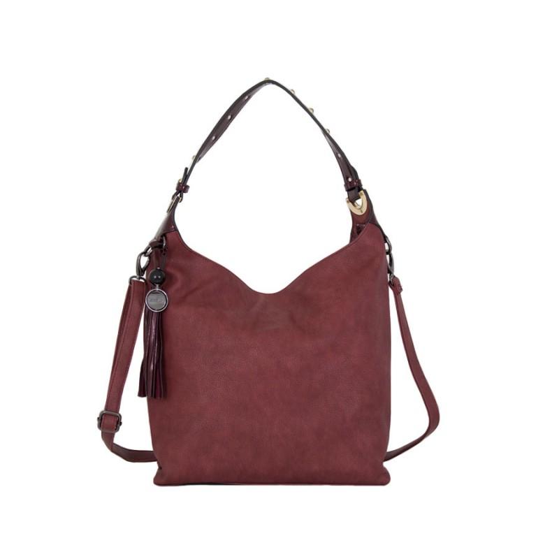 дамска чанта g55-51b в бордо с детайли от лак