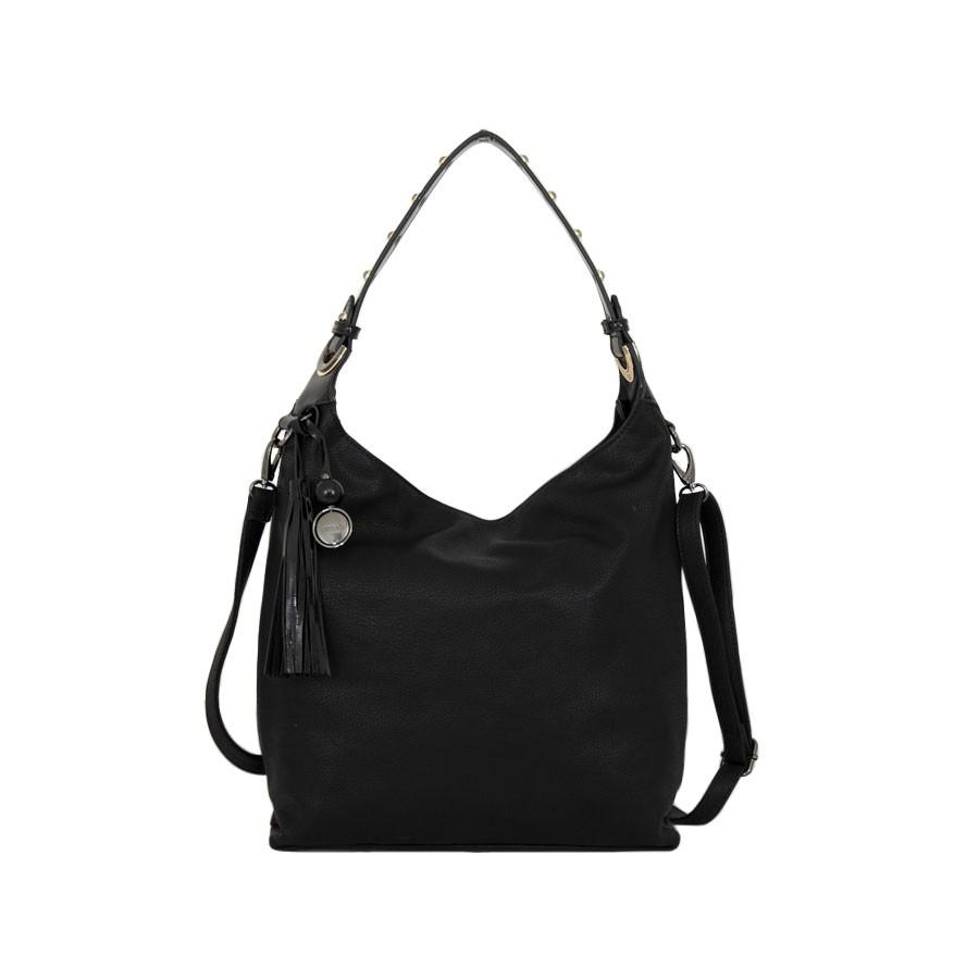 дамска чанта g55-52b в черно с детайли от лак