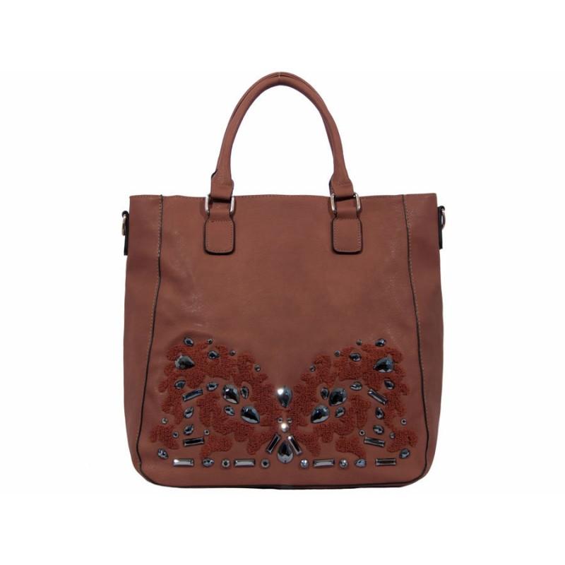 дамска чанта -K3817- кафяв цвят