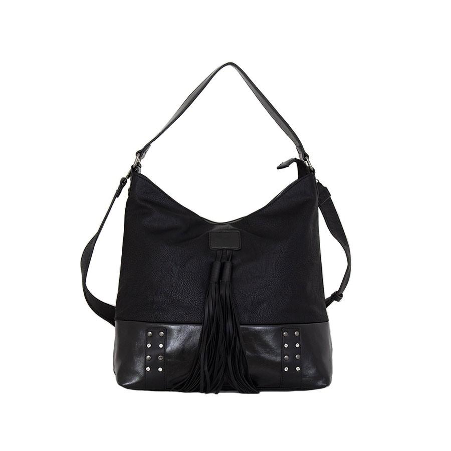 дамска чанта K5404B с камъни черен цвят