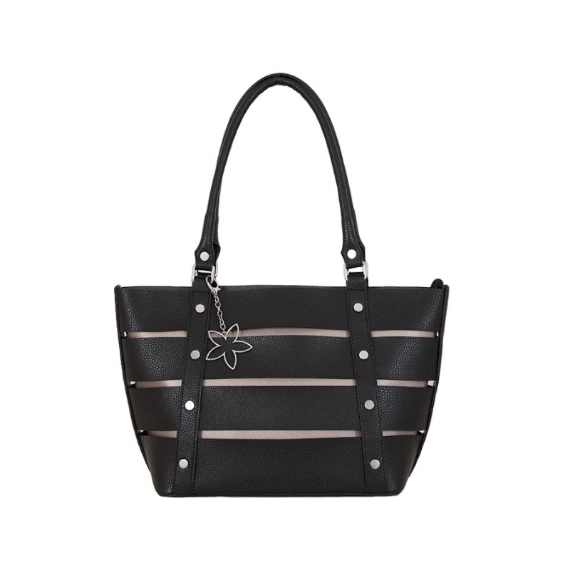 дамска черна чанта g52-00b с металик в цвят мед
