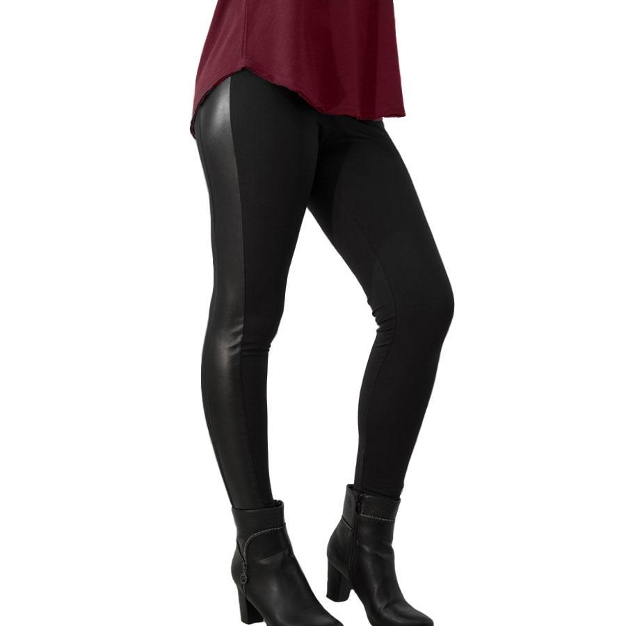 дамски ватиран клин с кожа P205K черен цвят