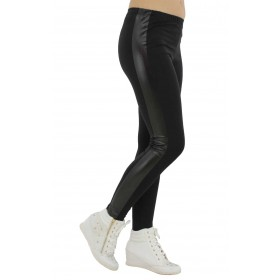 дамски клин памук -R007- черен с кожа