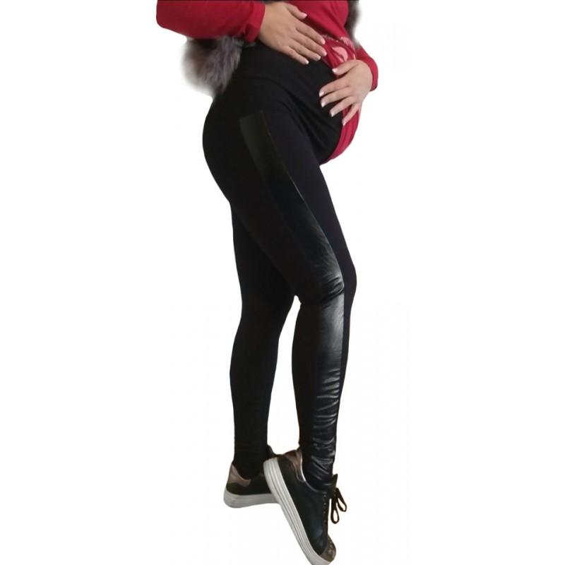 Клин за бременни с кожа SB243 черен цвят