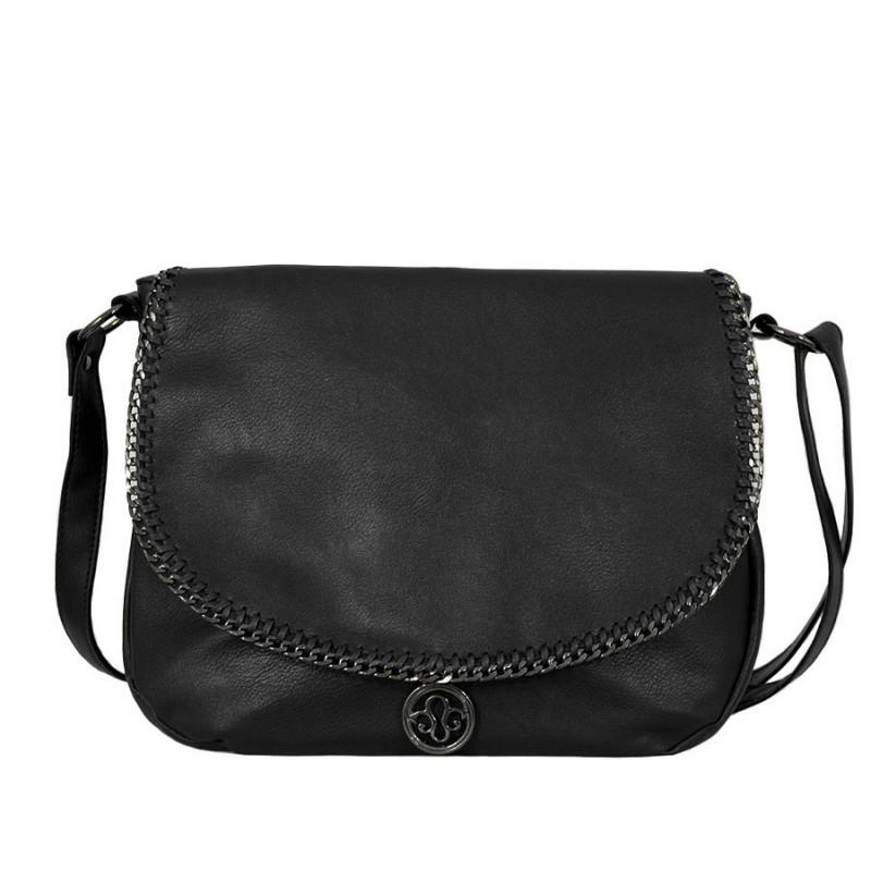 чанта през рамо с капак B54-77Z черна кожа