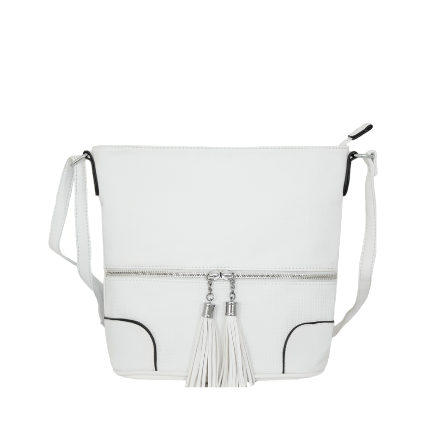 чанта през рамо B55-06K бял цвят с черни кантове