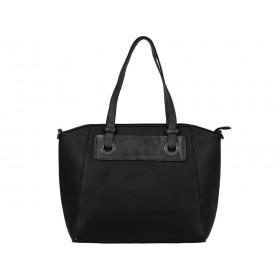 черна дамска чанта K49690I с детайли в черен графит